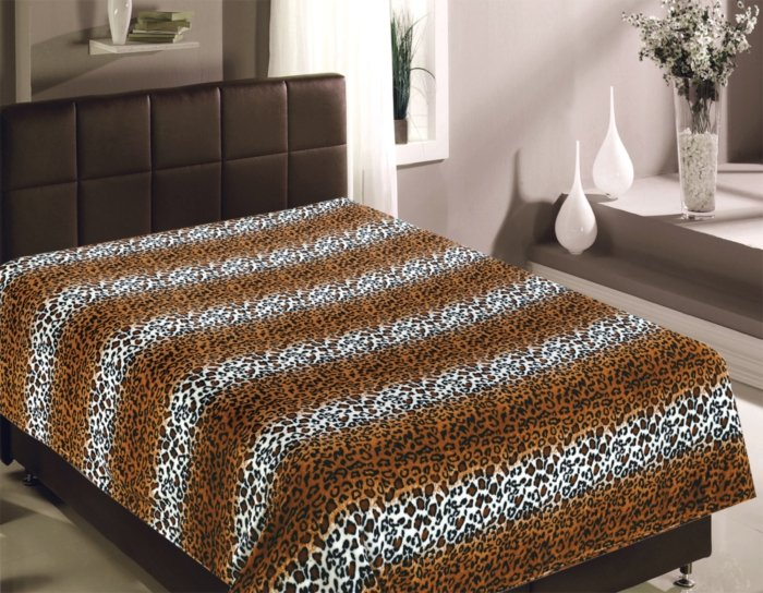 "Плед микрофайбер ""Шкура леопарда"", коричневый                             (tr-200246-gr)"