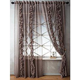Комплект штор ИВИ, коричневый, 200*270 см