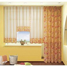 Комплект штор №060 Лилии (оранжевый)