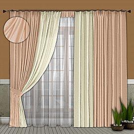 Комплект штор №066 Бледно-розовый/Молочный (софт)