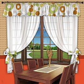 Шторы для кухни №069 Фисташка-Желтый-Оранжевый
