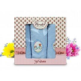 Комплект полотенец Floralice (50*90 - 2 шт; 70*140 - 1 шт), Голубой