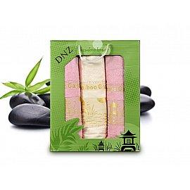 Комплект полотенец Bamboo (50*90 - 2 шт; 70*140 - 1 шт), Белый, Розовый