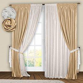 Комплект штор №074 Белый, Ваниль