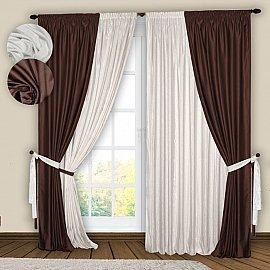 Комплект штор №074 Белый, Венге