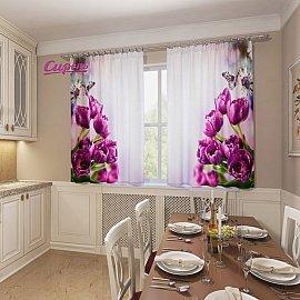 """Фотошторы для кухни """"Фиолетовые тюльпаны"""""""