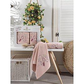 Комплект махровых полотенец с вышивкой DO&CO DALIA (50*90; 70*140), пудра