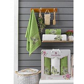 Комплект махровых полотенец Merzuka Roza (50*90*2; 70*140), зеленый