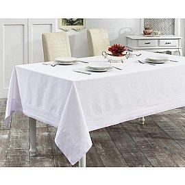 """Скатерть с вышивкой """"KARNA HONEY"""", прямоугольная, белый, 160*300 см"""