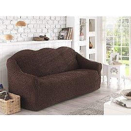 """Чехол для дивана """"KARNA""""  двухместный, без юбки, коричневый"""