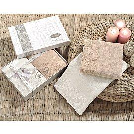 """Комплект махровых полотенец с гипюром """"KARNA ELINDA"""", кремовый, кофейный, 50*90 см - 2 шт"""