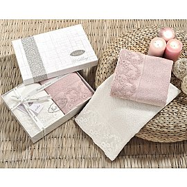 """Комплект махровых полотенец с гипюром """"KARNA ELINDA"""", кремовый, пудра, 50*90 см - 2 шт"""