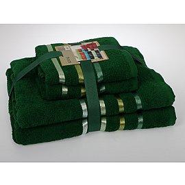 """Комплект из 4-х махровых полотенец (50*80; 70*140) """"KARNA BALE"""", темно-зеленый"""