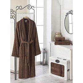 Набор из мужского халата и полотенец DO&CO GOLD, коричневый, р. 52