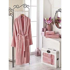 Набор из женского халата и полотенец DO&CO GOLD, розовый, р. 52