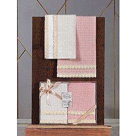 """Комплект вафельных полотенец с гипюром """"KARNA KOPENAKI"""", v1, 40*60 см - 2 шт"""
