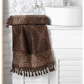 "Полотенце махровое жаккард ""KARNA OTTOMAN"", темно-коричневый, 50*90 см"