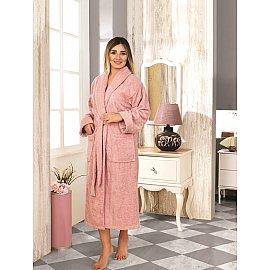 """Халат махровый женский """"KARNA BASIC"""", грязно-розовый, р. XL (50)"""