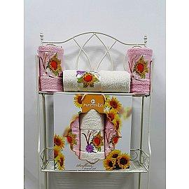Комплект из 3-х полотенец Merzuka Sunflower в коробке (50*80*2; 70*130), розовый