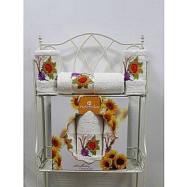 Комплект из 3-х полотенец Merzuka Sunflower в коробке (50*80*2; 70*130), кремовый