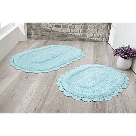 """Набор ковриков для ванной кружевной """"MODALIN LOKAL"""" (60*100; 50*70), светло-бирюзовый"""