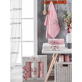 Комплект махровых полотенец Merzuka Bella (50*80*2; 70*130), светло-розовый