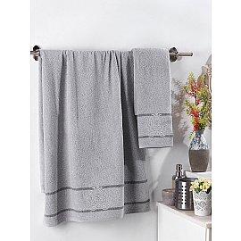 """Комплект махровых полотенец с вышивкой """"KARNA DAVIN"""" (50*90; 70*140), серый"""
