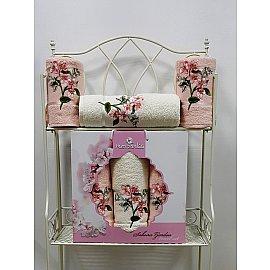 Комплект махровых полотенец Merzuka Sakura Garden (50*80*2; 70*130), пудра