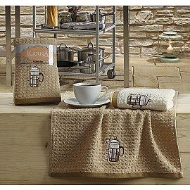 """Набор кухонных полотенец """"KARNA LEMON"""" Коричневый, v5, 45*65 см - 2 шт"""