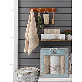 Комплект махровых полотенец Merzuka Elegant (50*90*2; 70*140), бежевый