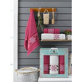 Комплект махровых полотенец Merzuka Elegant (50*90*2; 70*140), бордовый