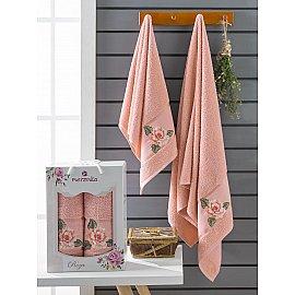 Комплект махровых полотенец Merzuka Roza (50*90; 70*140), персиковый