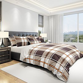 КПБ бязь eco cotton печатный Grid (2 спальный), бежевый
