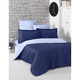 "КПБ сатин двухсторонний ""KARNA LOFT"" (1.5 спальный), темно-синий, голубой"