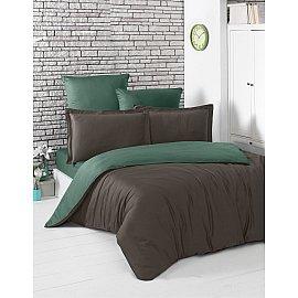 """КПБ сатин двухсторонний """"KARNA LOFT"""" (1.5 спальный), шоколадный, зеленый"""