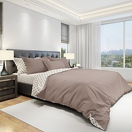 КПБ бязь eco cotton печатный Dots (2 спальный), коричневый