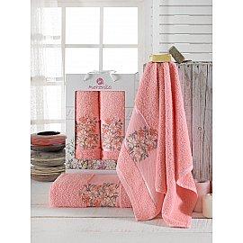Комплект махровых полотенец Merzuka Floral (50*80; 70*130), персиковый