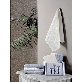 """Набор махровых салфеток в корзине """"KARNA FLORI"""", светло-серый, 30*30 см - 6 шт"""