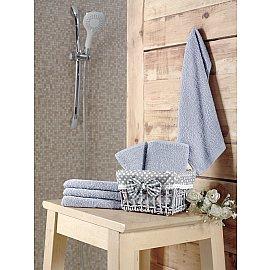 """Набор махровых салфеток в корзине """"KARNA PRUVA"""", светло-серый, 30*30 см - 6 шт"""