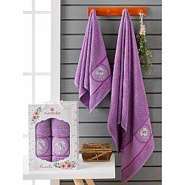 Комплект махровых полотенец Merzuka Fiorella (50*90; 70*140), фиолетовый