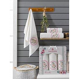 Комплект махровых полотенец Merzuka Fiorella (50*90*2; 70*140), кремовый