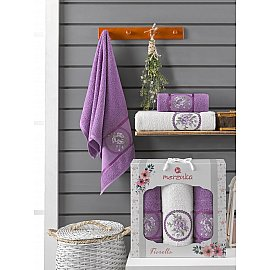 Комплект махровых полотенец Merzuka Fiorella (50*90*2; 70*140), фиолетовый