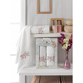 Комплект махровых полотенец Merzuka Daisy Gold (50*90; 70*140), кремовый