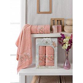 Комплект махровых полотенец Merzuka Daisy Gold (50*90; 70*140), персиковый