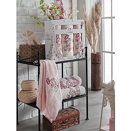 Комплект махровых полотенец TWO DOLPHINS ISABELLA (50*90*2; 70*140), светло-розовый