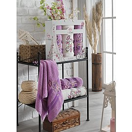 Комплект махровых полотенец TWO DOLPHINS ISABELLA (50*90*2; 70*140), лиловый