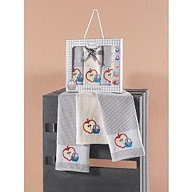 "Набор кухонных вафельных полотенец ""KARNA PANIER"", серый, 45*65 см - 3 шт"