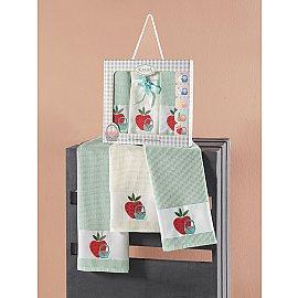 """Набор кухонных вафельных полотенец """"KARNA PANIER"""", зеленый, 45*65 см - 3 шт"""