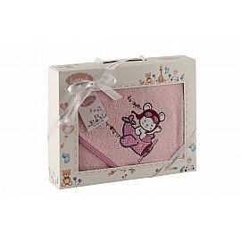 "Полотенце-конверт ""KARNA BAMBINO-SAMALOT"", розовый, 90*90 см"