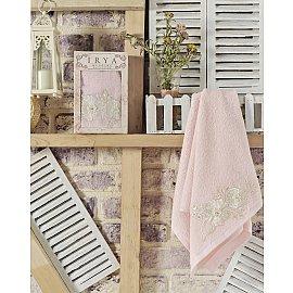 """Полотенце махровое в коробке """"IRYA FLEUR"""" с французским гипюром, розовый, 50*90 см"""